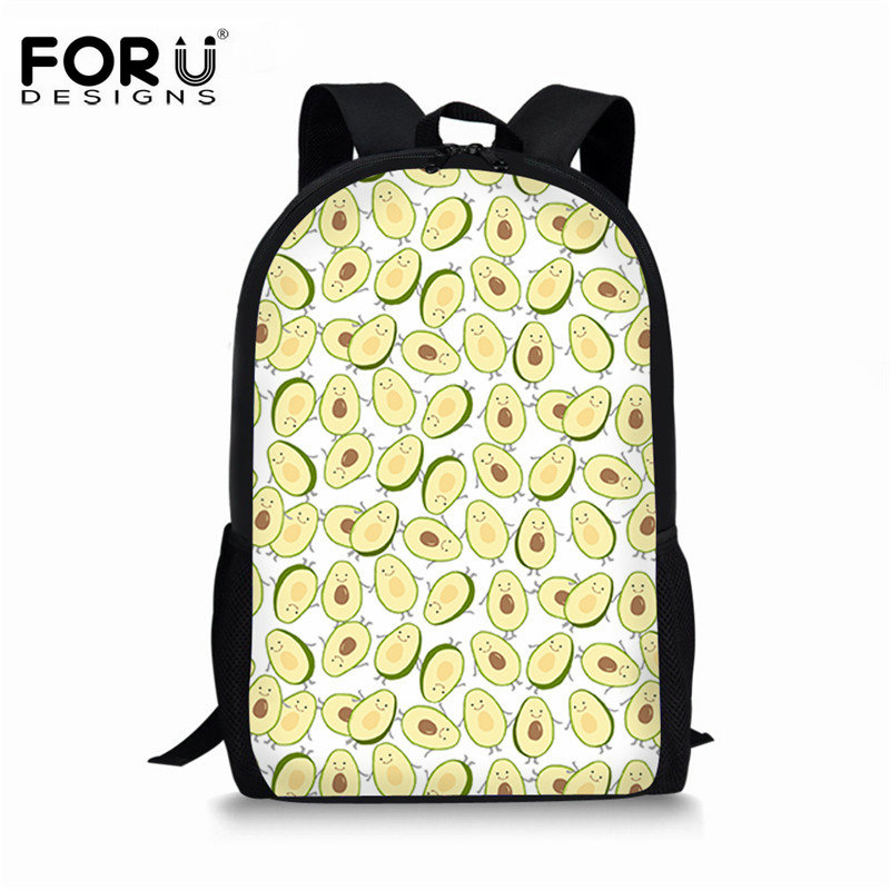Luggage & Bags Orderly Forudesigns Fruit Design Girls School Bag Avocado Printed Bookbag Mochila Novelty Kids Backpack Knapsack For Primary Student Promote The Production Of Body Fluid And Saliva Kids & Baby's Bags
