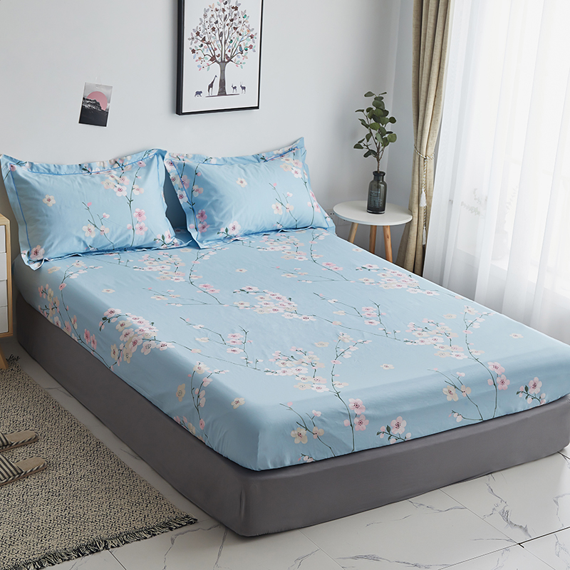 Blue flower Fitted Sheet(With Elastic Band) Bed Mattress Protective Cover cotton single queen Bed Sheet good quality pillowcaseBlue flower Fitted Sheet(With Elastic Band) Bed Mattress Protective Cover cotton single queen Bed Sheet good quality pillowcase