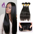 peerless peruvian virgin human straight hair bundles weave with lace closures and straight hair 3 bundles deals with closure