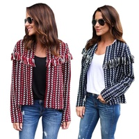 Women Warm Coat Short Jacket Jacquard Tassel Jacket Long Sleeve Coat