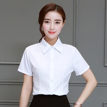 Women Summer Office Wear Loose Shirts Female Slim Fit Lapel Blouses Casual Blouse Short-sleeved Tops Plus Size