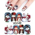 1 Hoja Colorida Navidad Muñeco de Nieve Lindo Completa Wraps Nail Art Pegatinas de Uñas Marca de agua Pegatinas De Uñas de Arte Decoraciones A1149