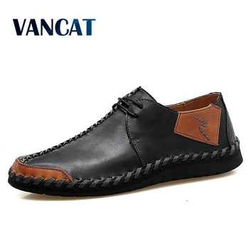 VANCAT Brand New Men Shoes Big Size 38-47 Mens Shoes Casual High Quality Split Leather Shoes Lace Up Man Flats Shoes - DISCOUNT ITEM  45% OFF All Category
