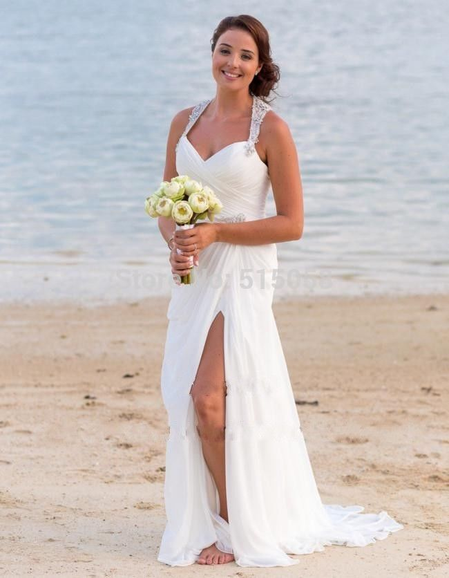 Crystal beaded halter side slit white chiffon long beach for Beach wedding dresses for plus size