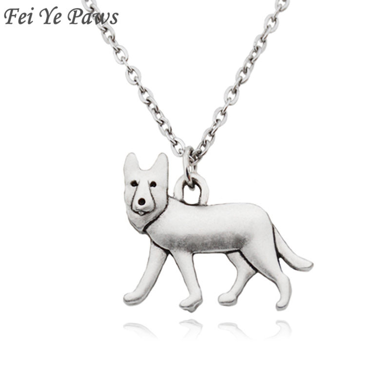 Fei Ye Paws Punk German Shepherd Dog Charms Pendant Statement Necklace Choker For Women Men Pet Jewelry Pet Lover Party Gift
