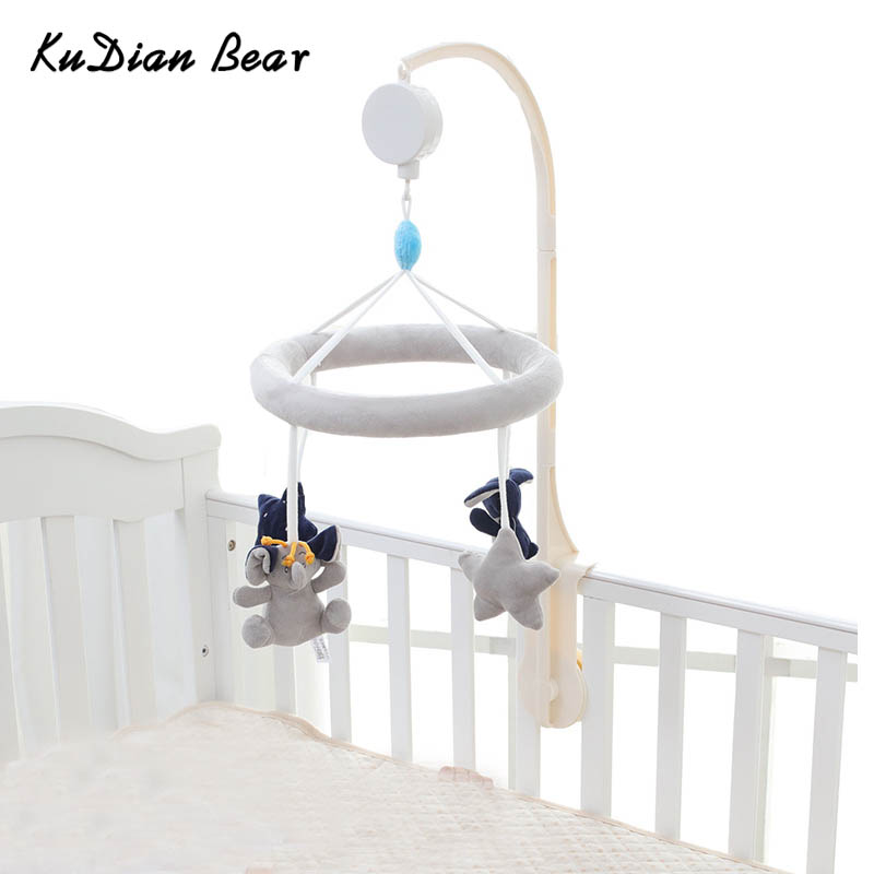 KUDIAN BEAR Baby Toy Crib Mobile Newborn Rabbit Musical Box with Holder Arm Music Box Rotating Bed Bell Plush Toys BYC341 PT49 bed cradle musical carousel mobile bed bell support arm cradle music box with rope automatic carillon music box without toys