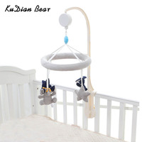 KUDIAN BEAR Baby Toy Crib Mobile Newborn Rabbit Musical Box with Holder Arm Music Box Rotating Bed Bell Plush Toys BYC341 PT49
