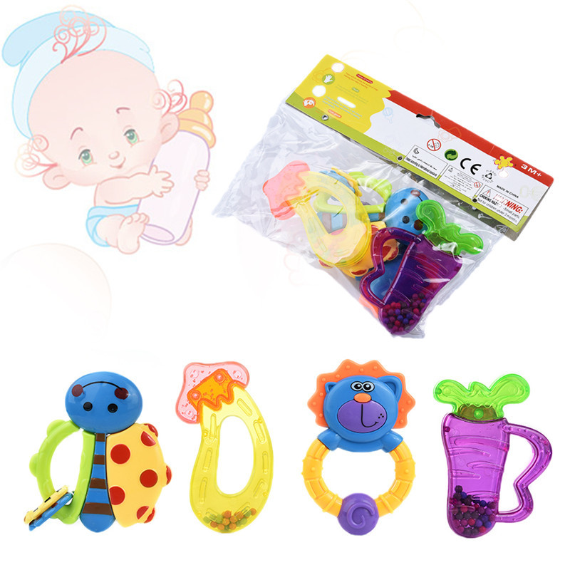 4PC Baby Rattle Baby Educational Toy Bell and Gutta-percha Play Set Baby Rattles Toy 0-1 year Old born Teethers Hand Rattles
