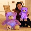 Большой 50 см/75 см Лаванда Медведь Плюшевые Игрушки Куклы с Led Ночь свет Kawaii Фиолетовый Мишка Фаршированные Светящиеся Игрушки Светятся в темно-
