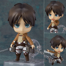 10cm Anime Cute Attack on Titan Eren Jaeger #375 PVC Action Figure Collectible Model Toy egg attack eaa 036 iron man 3 mark 42 mk xlii pvc action figure collectible model toy with led light