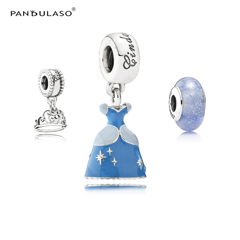 Pandulaso Cinderella's Dress Crown Glass Beads Fit Charms Silver 925 Original Bracelets & Bangles Charms for DIY Jewelry Making