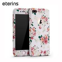 Eterins задняя крышка передняя дело полная защита мобильного телефона для iphone 6S плюс цветок чехол для iPhone 7 Plus Матовая поверхность