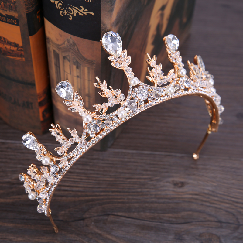 Gold Color Vintage Bridal Crown Baroque Crystal Tiara Hair Jewelry Headpiece Rhinestone Pearl Queen Wedding Hair Accessories