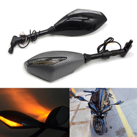 2pcs Motorcycle Rearview Mirror LED Turn Signals racing bike Integrated Mirrors For Honda Kawasaki Z 800 900 Suzuki CSL2017 KTM
