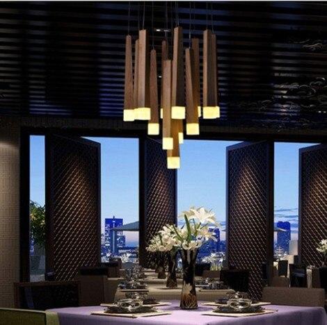designer matchstick led wood bedroom living room chandelier  for dining room clothing store
