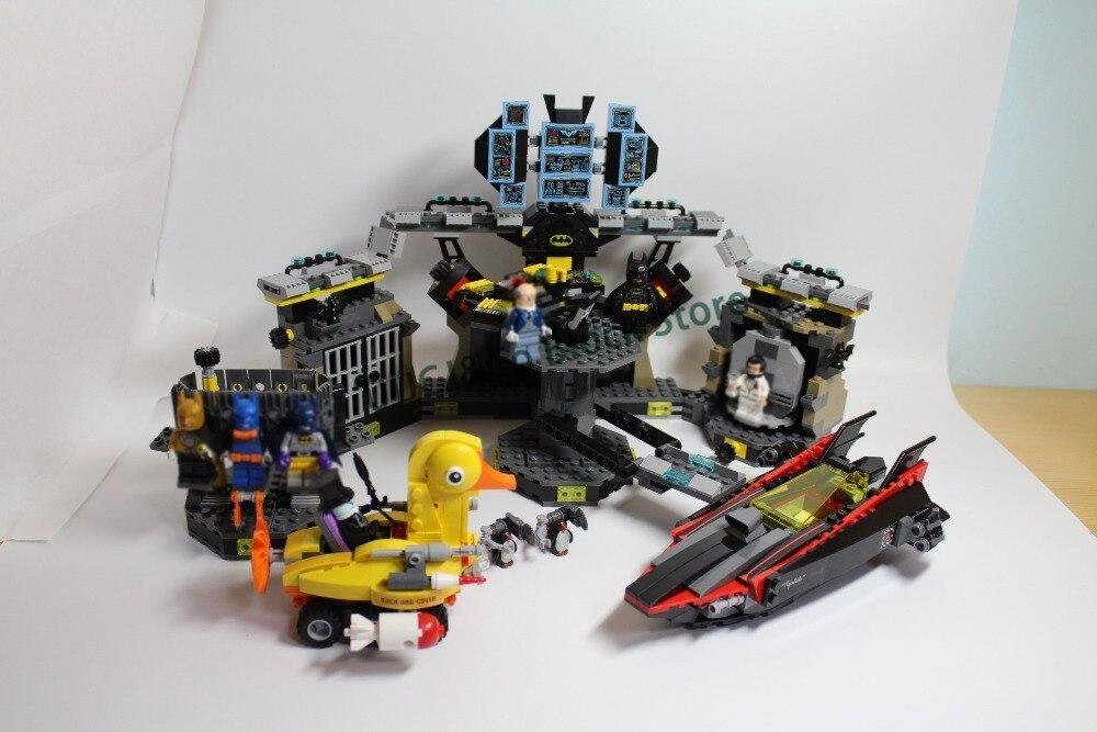 LEPIN Batman 07052 1047Pcs Batman Movie Series Batcave Break-in Model Building Blocks Set Bricks Toys For Children 70909 Gift bevle store lepin 22001 4695pcs with original box movie series pirate ship building blocks bricks for children toys 10210 gift