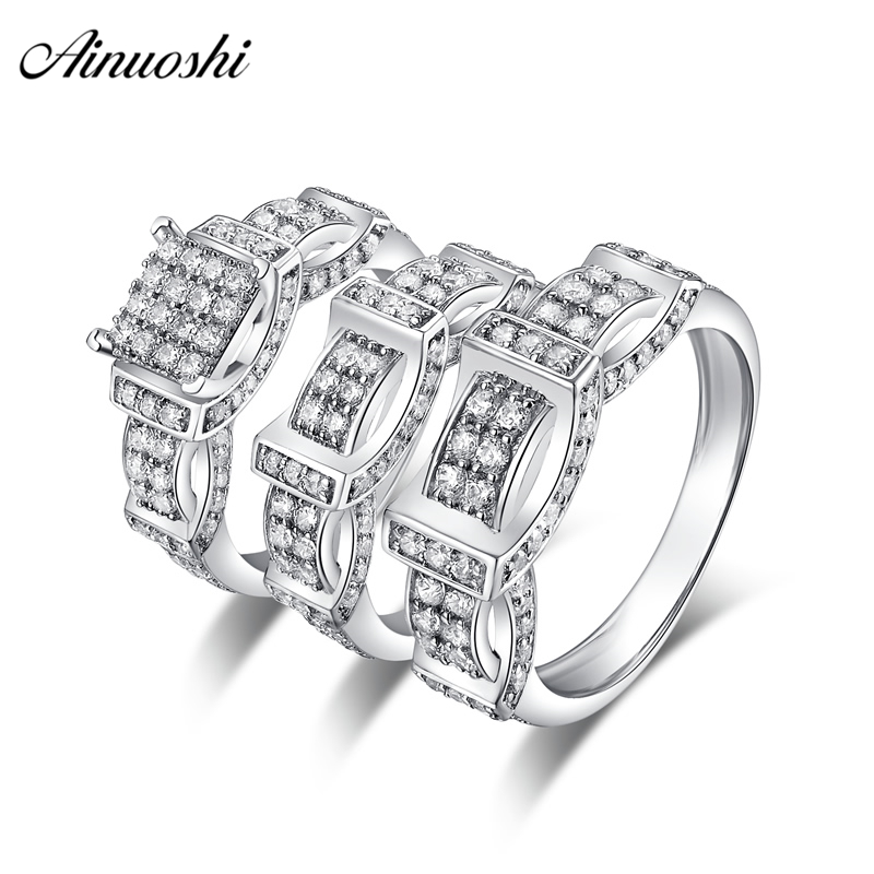 AINUOSHI 925 Sterling Silver Couple Wedding Engagement 4 Prongs Rings Sets Women Men Anniversary Lovely Promise Ring Sets Gifts men wedding band cz rings jewelry silver color anillos bague aneis ringen promise couple engagement rings for women