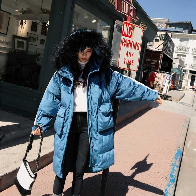 Hoodies Épaissir Manteau Outwear Femme D'hiver Coton Parkas Femmes Neige Bleu Fausse Mode Veste Porter Vers De Rue apricot Longue Le Fourrure Bas rembourré S4Aqt6x