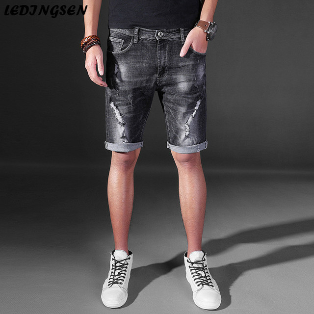 34b138a213 LEDINGSEN 2018 Men's Ripped Short Jeans Distressed Denim Shorts Men Summer  Black Jean Shorts Fashion Short Pants Plus Size 36