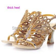 a6b0b088f Pavão diamante grosso sandálias de salto alto que bling colorido rhinestone  bombas casamento sapatos sexy cut