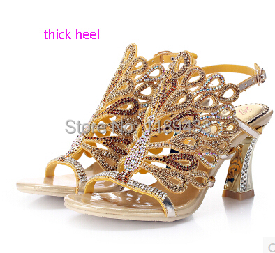 Peacock diamond thick heeled sandals bling colorful rhinestone pumps sexy cut-outs women luxury string bead wedding shoes
