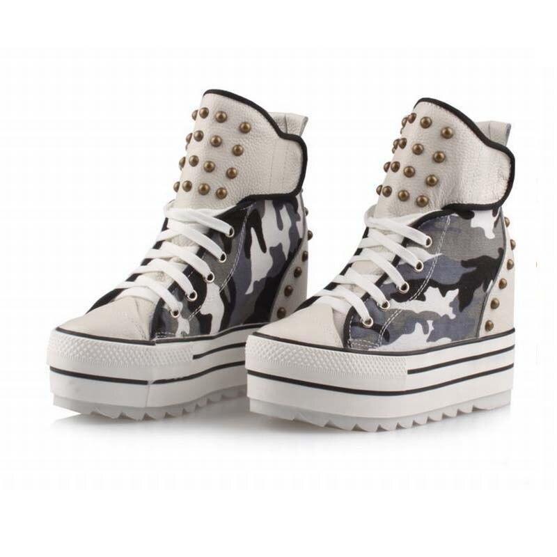 Hauteur Chaussures Punk Semelle Rivet Chaussons up Véritable Black Femmes Toile Cheville Lace white Casual En High Épaisse Bottes Top Cuir Camouflage Croissante fqIqw74xZg