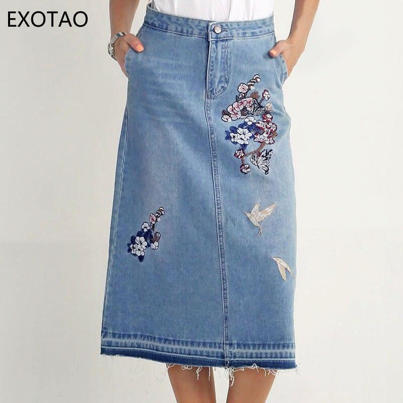 54b0538eb0 US $26.99 |EXOTAO Lunga Gonna Jeans Delle Donne Vintage Ricamo Floreale  Saias De Mulher A Line Donna Gonne In Denim Tasca Sfilacciata Hem Gonne S  XL ...