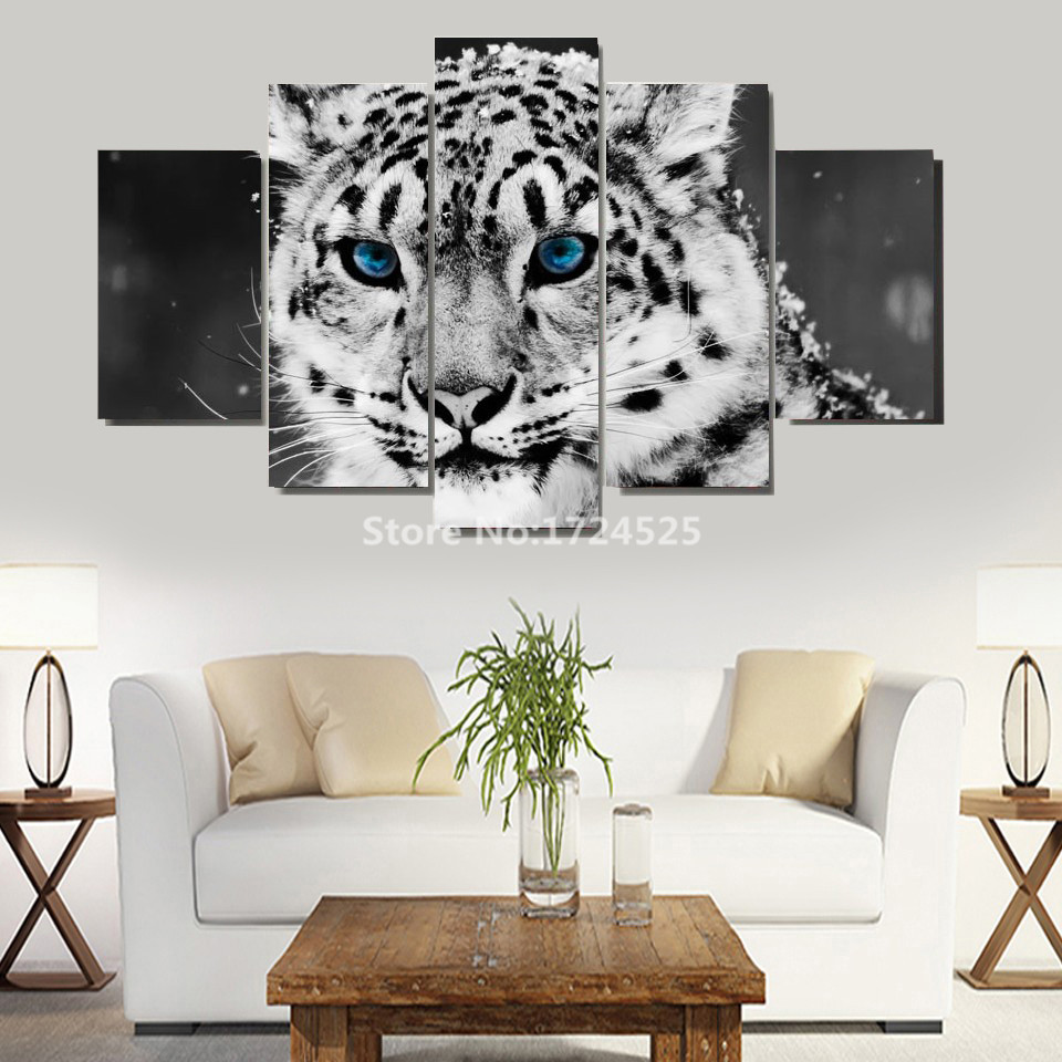 2017 Hot Sale Real Unframed Irregular Spray Painting 5 Pieces Animal Tiger Art Pictures Large Hd Modern Home Wall Decor On