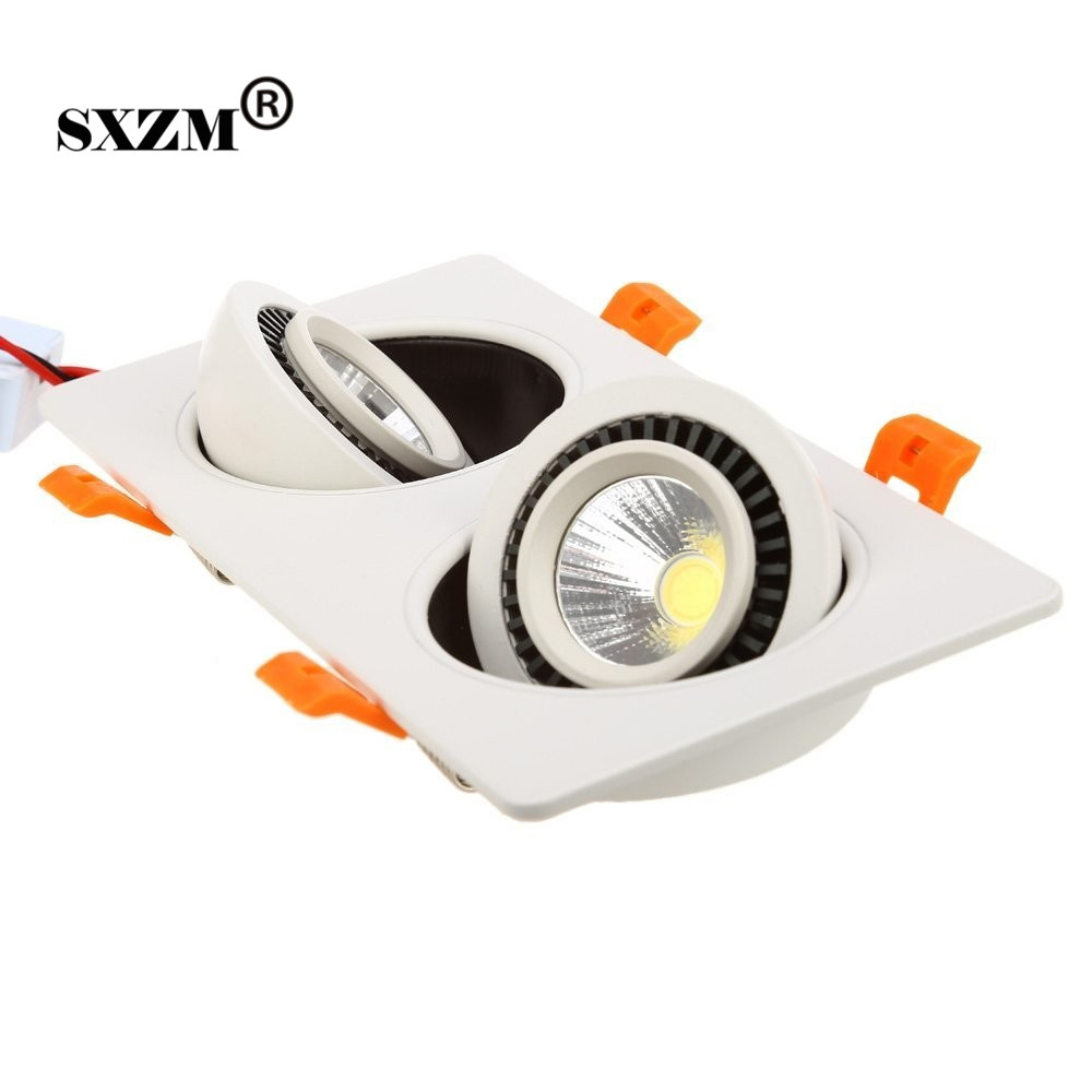 2X7W LED Double Heads COB LED Light 360 Degree Rotary Recessed LED Ceiling Light Warm White