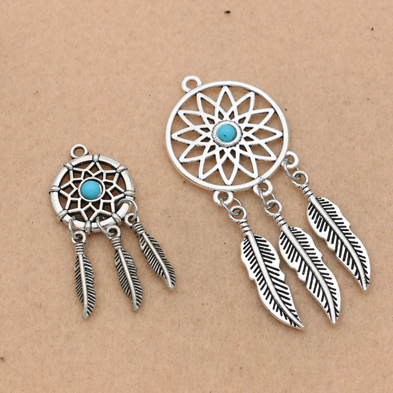 KJjewel Antique Silver Plated Dreamcatcher Charm for Jewelry Making Bracelet Accessories DIY Jewelry Findings