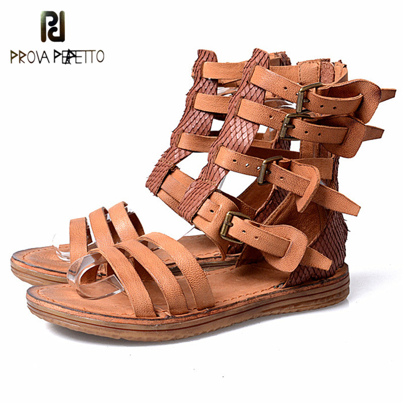 Prova Perfetto 2018 European Style Flat Summer Rome Sandals Fashionable Casual Genuine Leather Sandals Cover Heel Solid Color prova perfetto genuine leather mixed color flat platform wedge heel summer shoes for women sandals hollow open toe rome sandals