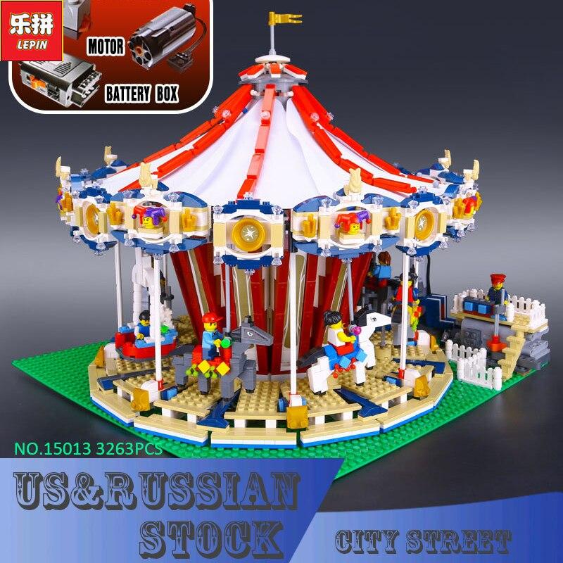 Lepin 15013 City Street Creator Carousel Model Building Kits Blocks Toy 3263PCS Presale lepin 15013 city sreet carousel model building kits blocks toy compatible 10196 with funny children educational lovely gift toys