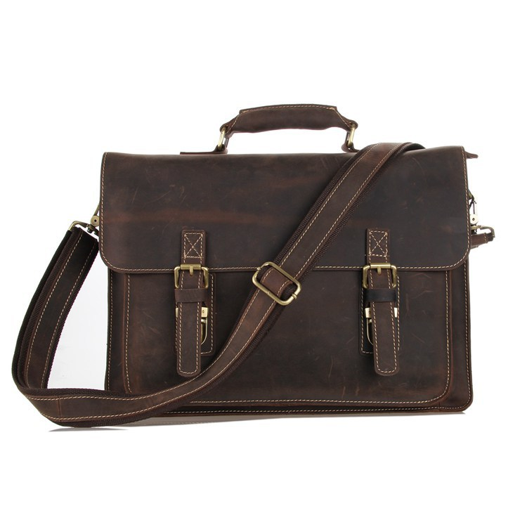 Nesitu Vintage Brown 100% Guarantee Genuine Leather Crazy Horse Leather Men Messenger Bags Briefcase 14'' Laptop Bag #M7205 crazy horse genuine leather men bags vintage loptop business men s leather briefcase man bags men s messenger bag 2016 new 7205