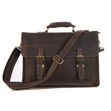"Maxdo Vintage Brown 100% Guarantee Genuine Leather Crazy Horse Leather Men Messenger Bags Briefcase 14"" Laptop Bag #M7205"