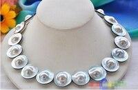 Дамы подарок женщин серебряная < p3274 идеальное ааа ++ 18 22 мм серый круглый южного моря MABE жемчужное ожерелье