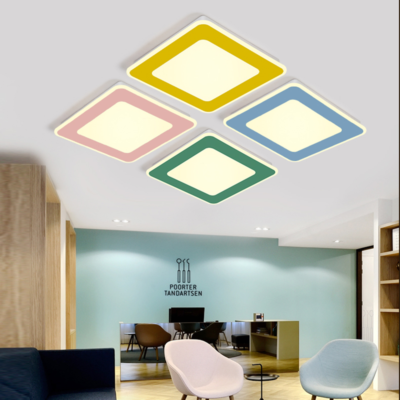 LED Nordic ceiling lamp home bedroom lamp living room lighting round simple modern macarons children room lights abaju