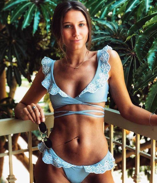 Bikini 2019 Blue Swimsuit Women Biquini Bandage Swimwear Sexy Swimming Suit Monokini Embroidery Bikinis Traje De Ba O Mujer