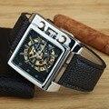 FREQÜENTADOR de Relógios Mecânicos Automáticos Homens de Luxo Da Marca Retângulo PU LEATHER Men Skeleton Relógios relogio masculino Dos Esportes Da Forma