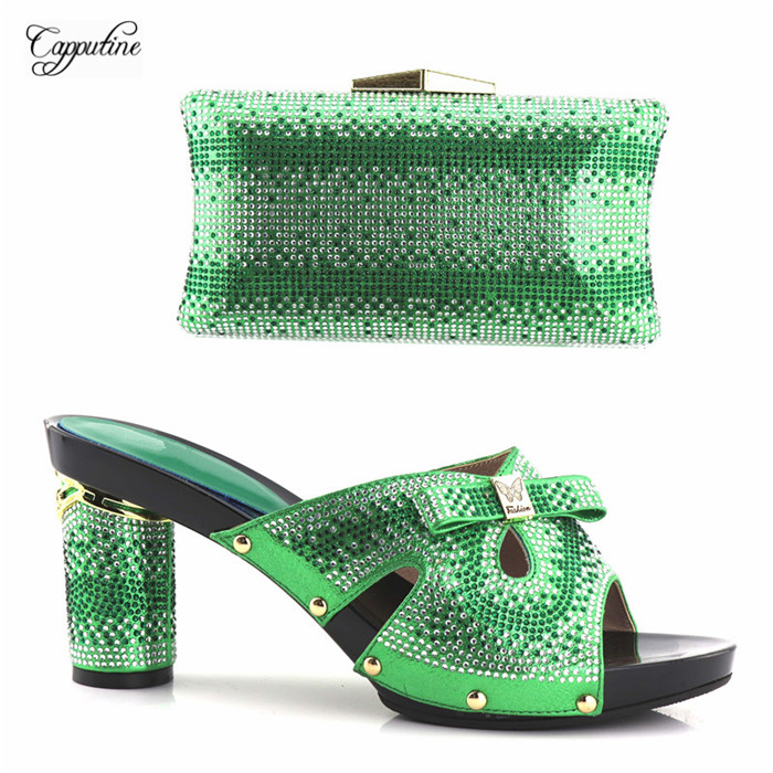 Hot sale green sandal shoes and handbag set nice pumps matching with purse YH2018 05, heel height 9.5cm