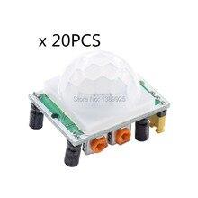O envio gratuito de 20 pçs/lote HC SR501 hcsr501 sr501 sensor infravermelho humano módulo piroelétrico sensor infravermelho