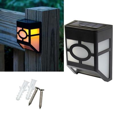 2 Led Solar Powered Lighting Outdoor Garden Yard Path Wall Landscape Lamp Black  Lantern LED Light Lamps