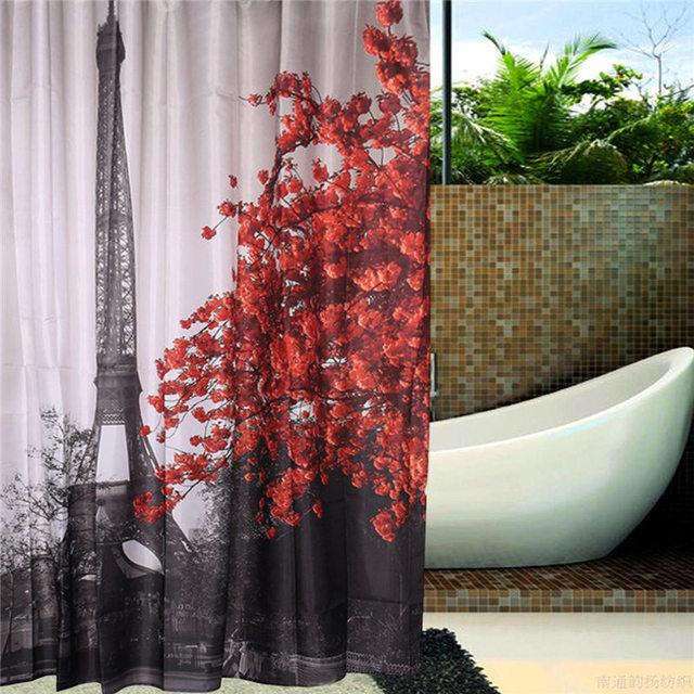 New Arrival 180x180cm Paris Eiffel Tower Printing Waterproof Terylene Bathroom Shower Curtain Block With 12 Hooks