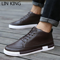 LIN KING High Qaulity Men's Shoes Pu Leather Hip Hop Shoes High Top Men Casual Shoes Round Toe Lace Up Flats Chaussure Homme