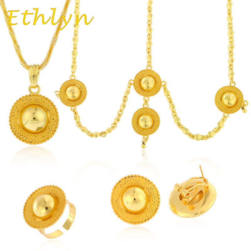 Habesha / Ethiopian  Jewelry Sets Gold Color Four pcs Hair Chain/Earrings/Ring/Pendant Chain Eritrean Women jewelry S-11