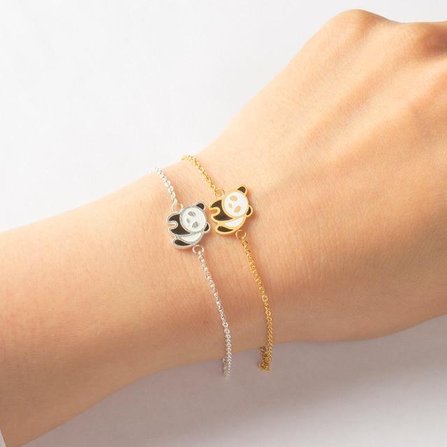Stainless Steel Cute Panda Bracelets For Women Gold Silver Chain Animal Charm Bracelet Jewelry Bracciali Donna