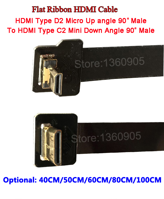 40/50/60/80/100CM HDMI Flat Ribbon Soft Flexible Cable TypeC2 Mini male to Micro typeD2 male up angle, shielded ribbon cable FPV 80 channels hdmi to dvb t modulator hdmi extender over coaxial