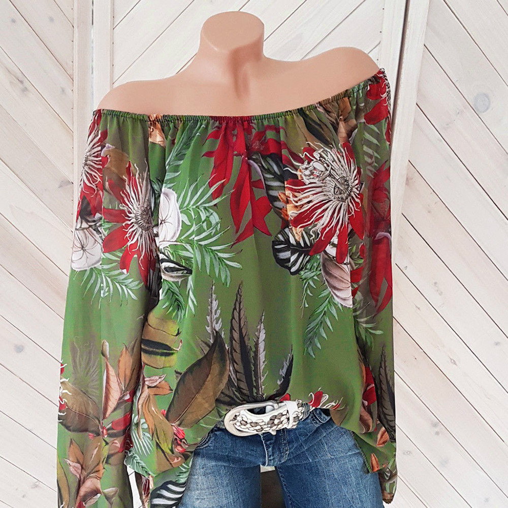 womens tops and blouses harajuku Plus Size Long Sleeve Floral Print Off Shoulder Blouse Pullover Tops Shirt