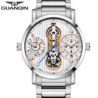 GUANQIN Элитный бренд Творческий автоматический Мужские часы скелетоны Tourbillon полный Сталь Водонепроницаемый Для Мужчин's Бизнес механические