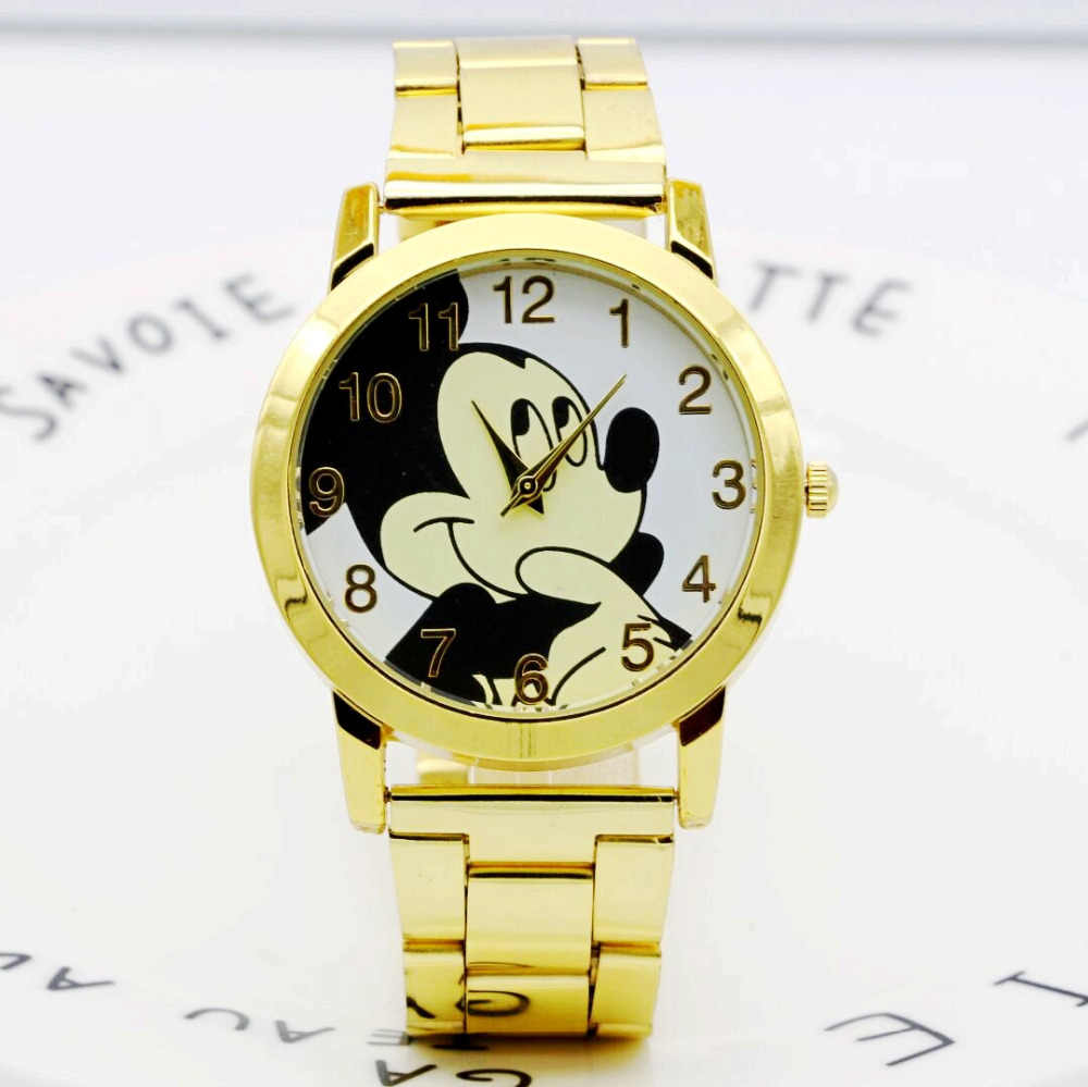 5e711a7e754 New Fashion Gold wristwatches quartz watch women rhinestone dress watches  mickey watch kids watch For lady