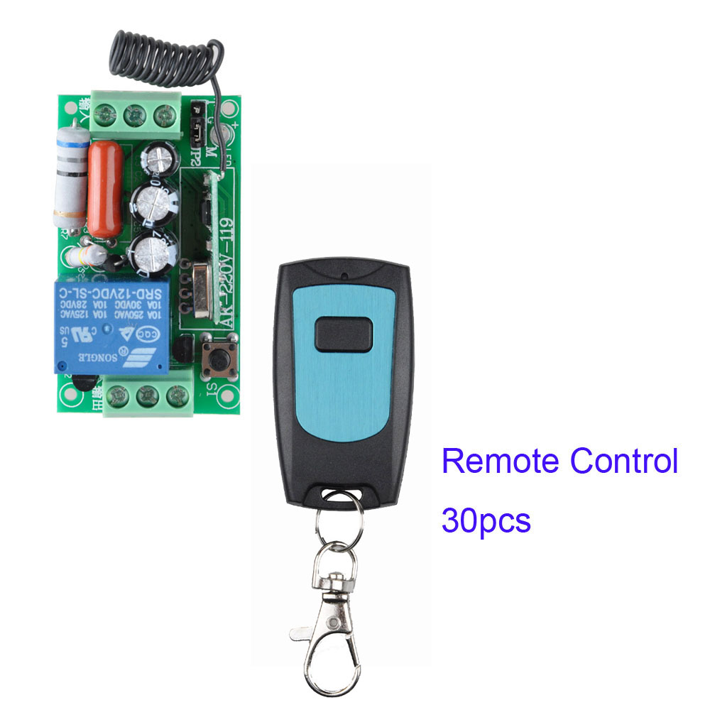 AC 220V 1CH 10A Relay RF Remote Control Switch wireless Light Switch Remote Switch 1pcs Receiver + 30pcs Transmitter